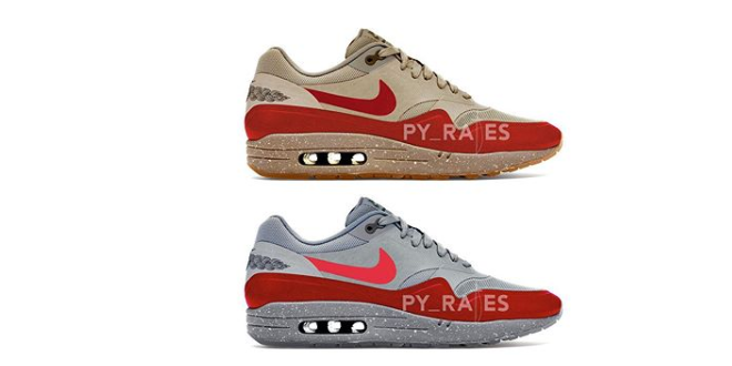 CLOT x Nike Air Max 1 - Rocky Tan - Solar Red - 2021